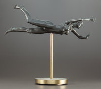 ROBERT GRAHAM (American, 1938-2008) Young Girl Swimming Bronze 8 x 21-1/2 x 7 inches (20.3 x 54.6