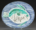 Prints, PABLO PICASSO (Spanish, 1881-1973). Poisson Bleu, 1953. Partially glazed ceramic plate. 12-3/4 x 15-1/2 inches (32.5 x 3...