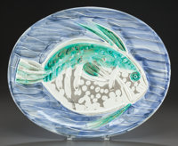 PABLO PICASSO (Spanish, 1881-1973) Poisson Bleu, 1953 Partially glazed ceramic plate 12-3/4 x 15-