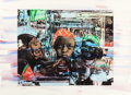Prints, ROMARE BEARDEN (American, 1914-1988). The Train, 1974. Color aquatint, etching, and photo engraving with watercolor. 22 ...