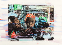 ROMARE BEARDEN (American, 1914-1988) The Train, 1974 Color aquatint, etching, and photo engraving wi
