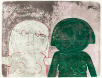 RUFINO TAMAYO (Mexican, 1899-1991) Dos Cabezas de Mujer (from Mujeres), 1969 Lithograph in colors