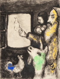 MARC CHAGALL (French/Russian, 1887-1985) The Dove of the Ark, 1939 Hand-colored etching 13-1/4 x