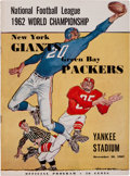 Football Collectibles:Programs, 1962 NFL Championship Game Program - Packers Vs. Giants (HighGrade)....