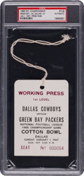 Football Collectibles:Tickets, 1966 NFL Championship Game Press Pass PSA Authentic - Packers Vs. Cowboys....