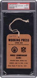 Football Collectibles:Tickets, 1968 Super Bowl II Press Pass PSA Authentic - Packers Vs. Raiders....
