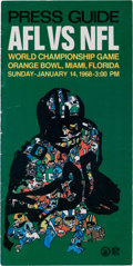 Football Collectibles:Publications, 1968 Super Bowl II Press Guide - Packers Vs. Raiders (Extremely Rare)....