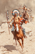 Paintings, FRANK MCCARTHY (American, 1924-2002). War Party. Oil on canvas. 12 x 8 inches (30.5 x 20.3 cm). Signed lower left: McC...