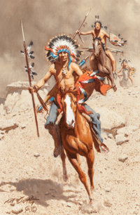 FRANK MCCARTHY (American, 1924-2002) War Party Oil on canvas 12 x 8 inches (30.5 x 20.3 cm) Si