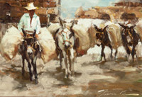 RAMON KELLY (American, b. 1939) Burro's Burros, 1985 Oil on artists' board 8-1/2 x 12-1/2 inches