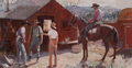 Works on Paper, DONALD TEAGUE (American, 1897-1991). Ranch Hands Get the Word, 1941. Gouache on paper . 13-1/2 x 26-1/2 inches (34.3 x 6...