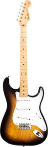 Musical Instruments:Electric Guitars, 1955 Fender Stratocaster Sunburst Solid Body Electric Guitar,Serial # 7341....