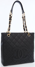 Luxury Accessories:Bags, Chanel Black Quilted Caviar Leather Petite Shopping Shoulder Bagwith Gold Hardware . ...