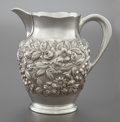 Silver Holloware, American:Pitchers, A KIRK & SON SILVER REPOUSSÉ WATER PITCHER. Samuel Kirk &Son, Baltimore, Maryland, circa 1920. Marks: S. KIRK & SON,STER...
