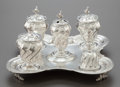 Silver Holloware, Continental:Holloware, A SIX PIECE CONTINENTAL SILVER DESK SET . Probably Spain, 19thcentury. Marks: (M-crowned), GON, (eagle). 14-1/8 inches ...(Total: 6 Items)