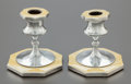 Silver Holloware, British:Holloware, A PAIR OF DAVID, MOSS & CO. GEORGE V GUILLOCHE ENAMELED SILVERCANDLESTICKS. David, Moss & Co., Birmingham, England, circa1... (Total: 2 Items)