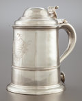 Silver Holloware, British:Holloware, A RICHARD BELL GEORGE II ENGLISH SILVER TANKARD. Richard Bell,London, England, circa 1735-1736. Marks: (lion passant), (leo...