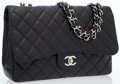 Luxury Accessories:Bags, Chanel Black Caviar Leather Maxi Single Flap Bag with SilverHardware. ...