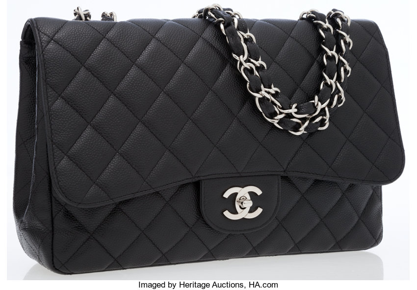 c190286596d Luxury Accessories:Bags, Chanel Black Caviar Leather Maxi Single Flap Bag  with SilverHardware.