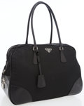 Luxury Accessories:Bags, Prada Black Microfiber Large Tote Bag with Black Leather Trim. ...