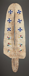 American Indian Art:Beadwork and Quillwork, A SIOUX BEADED HIDE DANCE ORNAMENT. c. 1890...