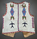 American Indian Art:Beadwork and Quillwork, A SIOUX MAN'S PICTORIAL BEADED HIDE VEST. c. 1885...