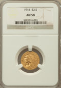 Indian Quarter Eagles: , 1914 $2 1/2 AU58 NGC. NGC Census: (1473/5672). PCGS Population(672/2401). Mintage: 240,000. Numismedia Wsl. Price for prob...