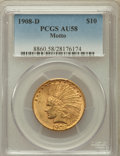 Indian Eagles: , 1908-D $10 Motto AU58 PCGS. PCGS Population (149/422). NGC Census:(208/419). Mintage: 836,500. Numismedia Wsl. Price for p...