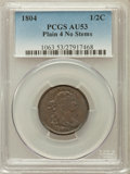 Half Cents: , 1804 1/2 C Plain 4, No Stems AU53 PCGS. PCGS Population (44/260).NGC Census: (57/521). Mintage: 1,055,312. Numismedia Wsl....
