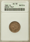 Indian Cents, 1860 1C AU58 ANACS. Breen-1947. NGC Census: (77/943). PCGSPopulation (89/1058). Mintage: 20,566,000. Numismedia Wsl. Price...