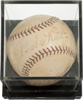 Autographs:Baseballs, 1930's-70's Babe Ruth, Lou Gehrig & Hank Aaron Signed Baseball....