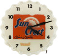 Autographs:Others, 1950's Sun Crest Advertising Clock Signed by Mickey Mantle....