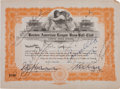 Autographs:Others, 1920 Boston Red Sox Stock Certificate Signed Three Times by Harry Frazee....