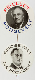 Political:Pinback Buttons (1896-present), Franklin D. Roosevelt: Pair of Bold Picture Pins.... (Total: 2 Items)