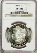 Morgan Dollars, 1887-S $1 MS64 Prooflike NGC....