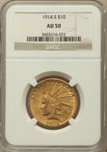 Indian Eagles: , 1914-S $10 AU50 NGC. NGC Census: (24/942). PCGS Population(28/772). Mintage: 208,000. Numismedia Wsl. Price for problem fr...