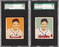 Baseball Cards:Singles (1940-1949), 1949 Bowman Sam Zoldak #78 SGC Graded Stock Variations Pair (2)....