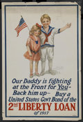 "Movie Posters:War, World War I Propaganda Poster (T.F. Moore Co., New York, 1917)Poster (20"" X 30""). ""Our Daddy is Fighting at the Front for Y..."