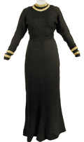 Movie/TV Memorabilia:Costumes, Marian Marsh's Black Evening Gown with Portrait. A floor-length custom-made evening gown owned and worn by Marian Marsh. The... (Total: 1 Item)