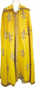 """Movie/TV Memorabilia:Costumes, """"Diane"""" Roger Moore Screen-Worn Cape. A regal full-length gold capewith large, repeating embroidered fleur-de-lis worn by a... (Total:1 Item)"""