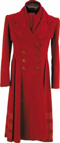 "Movie/TV Memorabilia:Costumes, ""Popeye"" Shelly Duvall Screen-Worn Red Coat and Accessories. OliveOyl's trademark long, red coat with embroidered red polka...(Total: 1 Item)"