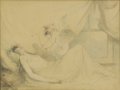 Fine Art - Painting, European:Antique  (Pre 1900), Attributed to RICHARD WESTALL (British 1765-1836). The LoveDream. Graphite and wash on paper. 7 x 9 inches (17.8 x 22.9...