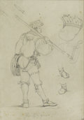Fine Art - Painting, European:Other , CONTINENTAL SCHOOL. Costume Study. Graphite on paper. 8-1/4x 5-3/4 inches (21.0 x 14.6 cm). Signed indistinctly lower c...