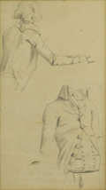 Fine Art - Painting, American:Other , ARTIST UNKNOWN. Clothing Studies. Graphite on paper. 6-3/4 x 3-3/4 inches (17.1 x 9.5 cm). Unsigned. ...