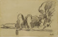 Fine Art - Painting, European:Modern  (1900 1949)  , MAXIMILIEN LUCE (French 1858-1941). Landscape, Lagny,France, circa 1906. Ink and pencil on paper. 3-3/4 x 6-1/8inches ...