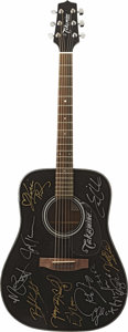 Music Memorabilia:Autographs and Signed Items, 12-Man Jam Concert Autographed Guitar. This black Takamine G-Seriesacoustic was signed in silver and gold marker by country... (Total:1 Item)