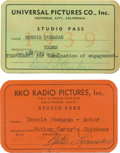 Movie/TV Memorabilia:Memorabilia, Donnie Dunagan's ID Cards from RKO and Universal Studios. Ultra-rare items indeed: These were Donnie Dunagan's studio passes... (Total: 1 Item)
