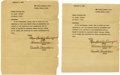 Movie/TV Memorabilia:Autographs and Signed Items, Donnie Dunagan Letter Firing His Agent at Age Five. Two copies of atyped letter dated December 1, 1939, addressed to the Ro... (Total:1 Item)