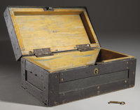 """IRON STRONG BOX - Vintage wood lined box with brass lock and iron hinges; false lock on lid 18½"""" x 10""""..."""