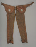 Western Expansion:Cowboy, CHARRO CHAPS - Leather leggings with stamped edges; Conchodecoration on belt body; Turned bone buttons; Circa 1940's. . ...